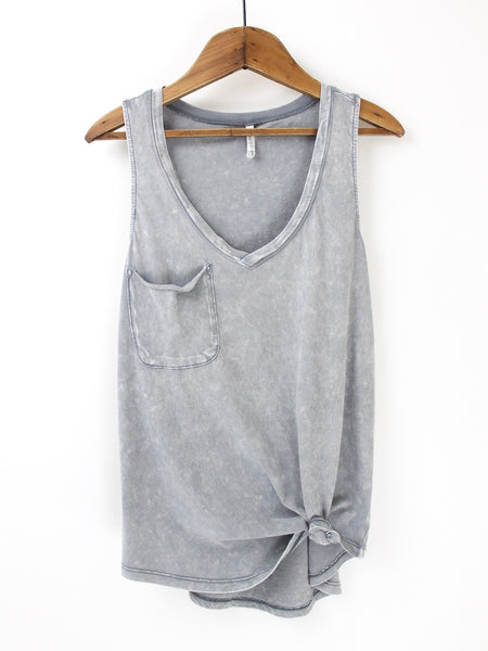 The Washed Pocket Racer Tank