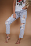 "Hidden ""Love Him"" Boyfriend Jeans"