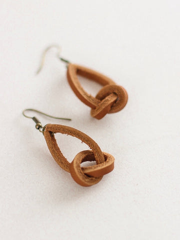 Jones & Lake Knotted Leather Earrings