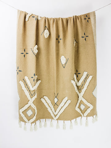 Geometric Textured Tassel Throw