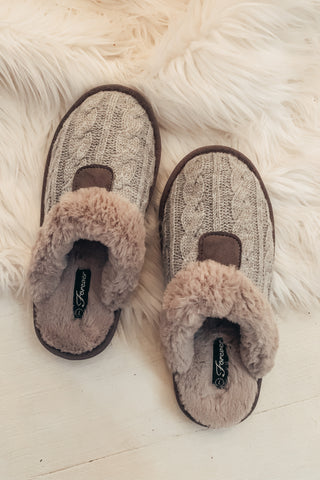 Fur Lined Slippers - Grey