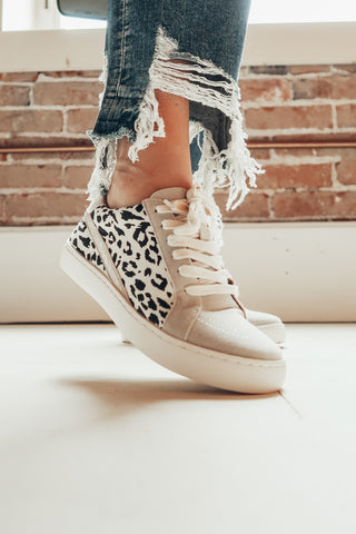 Leopard and suede sneakers.