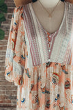 Mix-Print Button Down Tunic Top