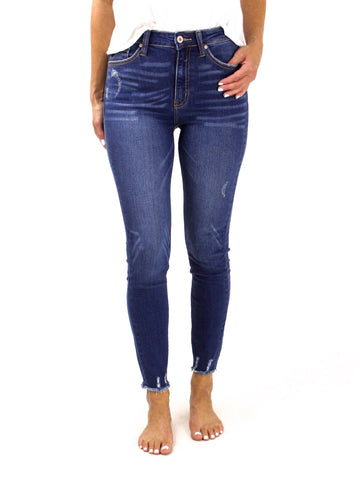 KanCan High Rise Frayed Ankle Skinny Jeans