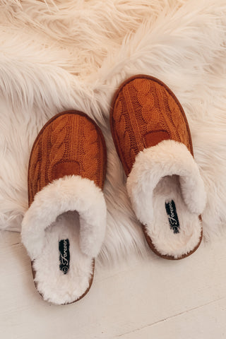 Fur Lined Slippers - Tan