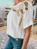 Floral Embroidered Dolman Sleeve Top