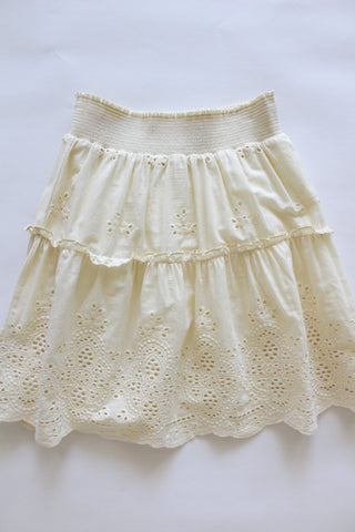 Cream colored boho style Eyelet Skirt.
