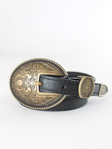 Black Skinny Belt with Buckle
