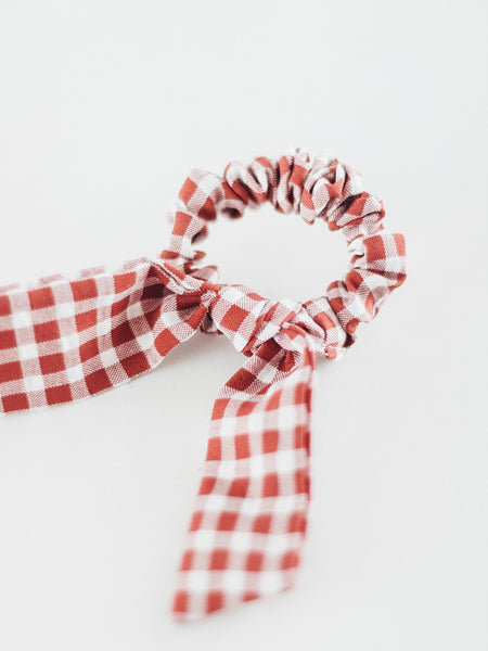 Rust Gingham Bow Scrunchie