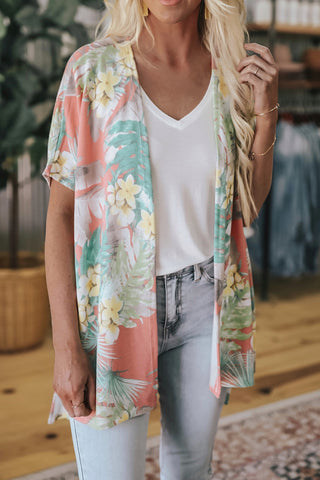 By The Beach Tropical Print Cardi
