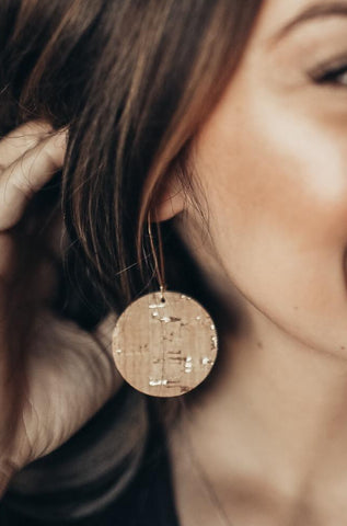 Jones & Lake Gold Fleck Cork Earrings