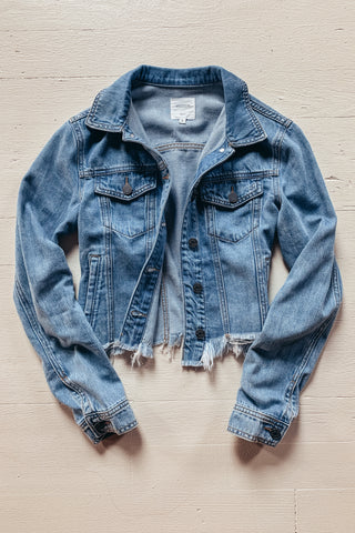 Hidden Cropped & Frayed Denim Jacket