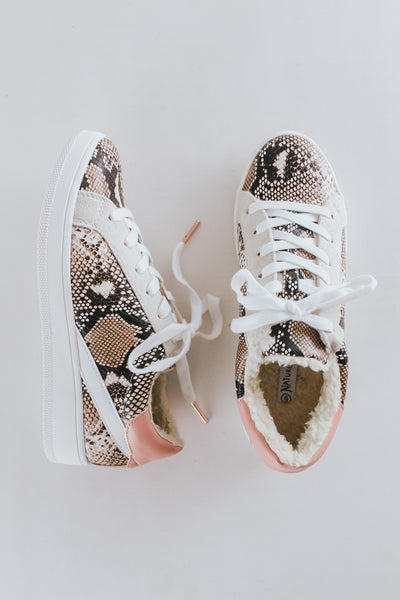Sherpa Lined Snake Print Sneakers