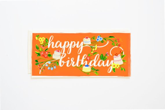 Happy Birthday Card Branches & Cake in Tangerine