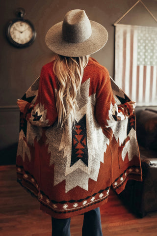 Women's Western style southwest print sweater cardigan.