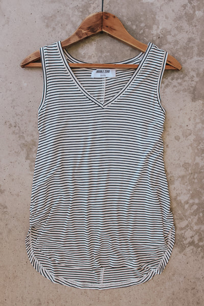 Basic black and white striped tank top.