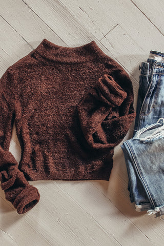 Women's brown mock neck cropped sweater.