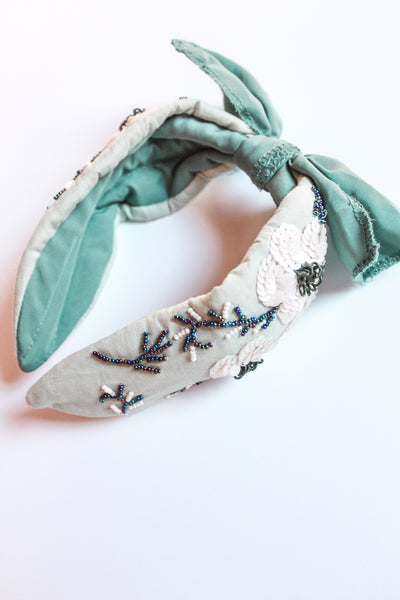 Beaded Satin Headband - Sage