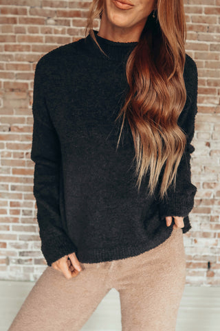 The Mitzie sweater. Super soft and cozy black sweater.
