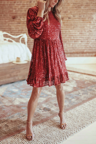 Sequin Long Sleeve Empire Waist Dress - Wine