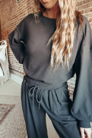 Elastic Waist Basic Sweatshirt - Black