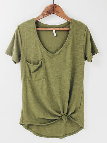 Z Supply The Airy Slub Pocket Tee. Capulet Olive