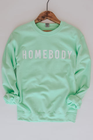 Homebody crew neck graphic sweatshirt. Mint green