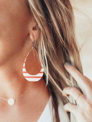 Jones & Lake Leather Double Teardrop Earrings