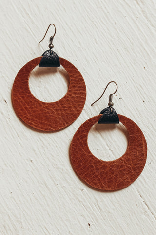 Handmade in the USA leather earrings.