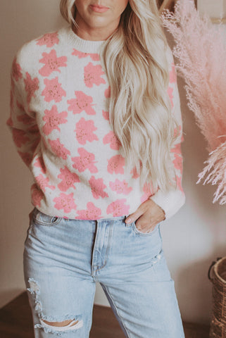 Geranium Pink floral knitted sweater.