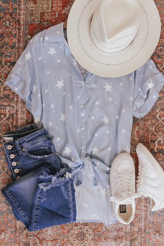Star Print Button Down Top