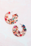 Multi Colored Marbled Hoop Earrings