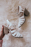 Shelbie Off White Ankle Strap Heels