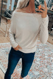 Off The Shoulder Micro Ribbed Knit Sweater