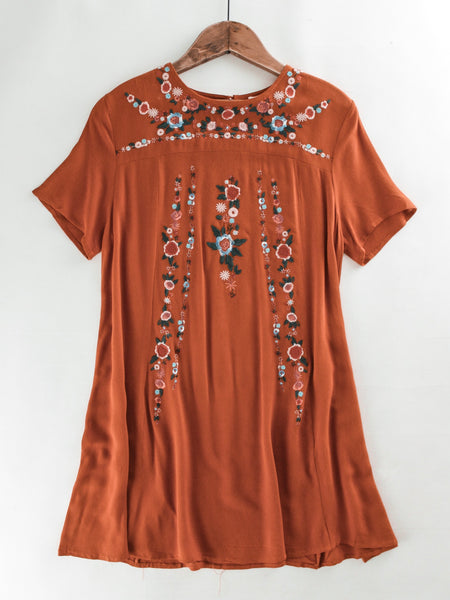 Floral Embroidered A-Line T-Shirt Dress