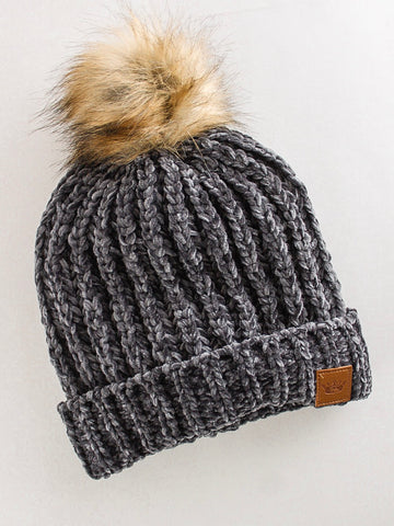 Thick Chenille Fleece Lined Beanie