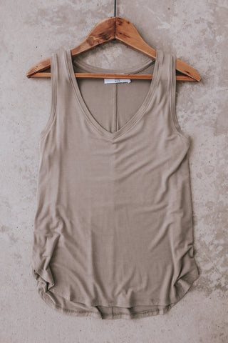 Women's basic v-neck tank top.