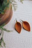 Jones & Lake Large Leather Leaf Earrings