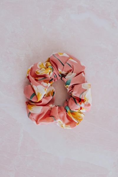 Visco style tropical pink hair scrunchie.
