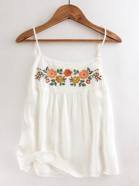 Embroidered Twill Tank Top