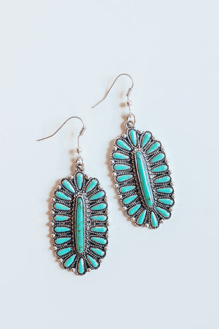 Western turquoise cluster earrings.