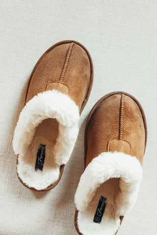 Camel cozy fur lined slippers.