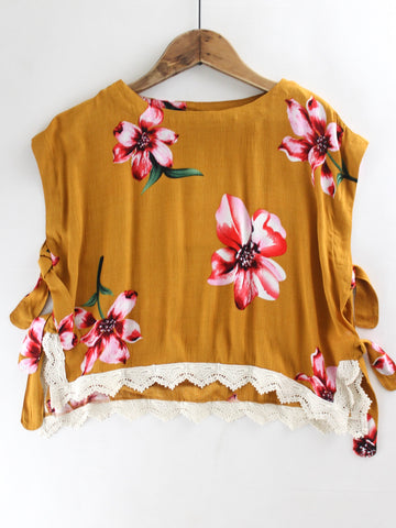 Lace Trim Floral Top