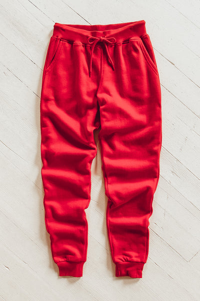 Women's red jogger pants.