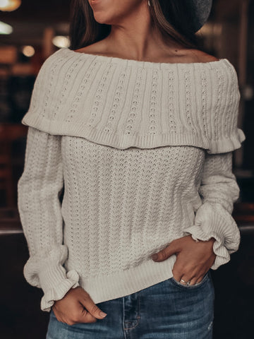 Fold Over Ruffled Sweater
