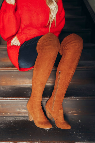 Over the knee tall suede boots for women. High heeled. Camel brown.