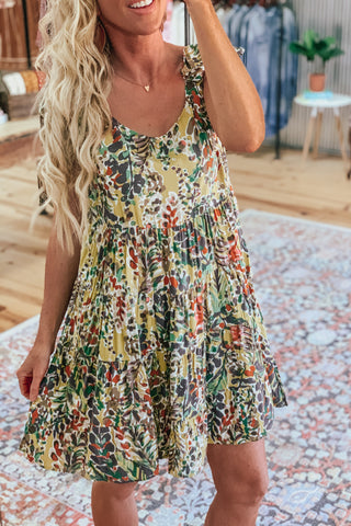 Tropical floral print dress.