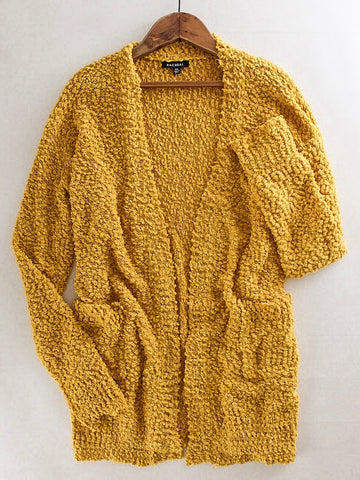 Long Popcorn Knit Cardigan