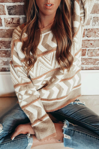 Aztec Vibe Mixed Print Sweater