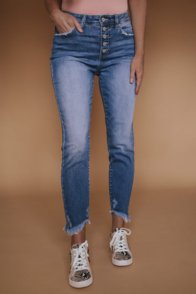 Women's KanCan high rise ankle skinny. Button fly. Medium wash.
